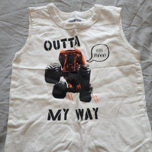 OshKosh White Tank Top Cute Boys 5T Monster Truck